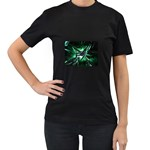 Broken Green Goth Metallic Glass Women s Black T-Shirt