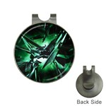 Broken Green Goth Metallic Glass Golf Ball Marker Hat Clip