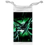 Broken Green Goth Metallic Glass Jewelry Bag