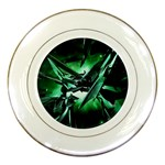 Broken Green Goth Metallic Glass Porcelain Plate