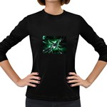 Broken Green Goth Metallic Glass Women s Long Sleeve Dark T-Shirt