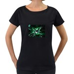 Broken Green Goth Metallic Glass Maternity Black T-Shirt