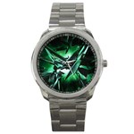 Broken Green Goth Metallic Glass Sport Metal Watch