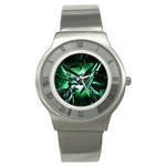 Broken Green Goth Metallic Glass Stainless Steel Watch