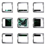 Broken Green Goth Metallic Glass Mega Link Italian Charm (9 pack)