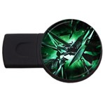Broken Green Goth Metallic Glass USB Flash Drive Round (4 GB)