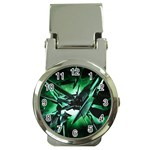 Broken Green Goth Metallic Glass Money Clip Watch