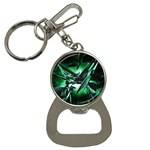 Broken Green Goth Metallic Glass Bottle Opener Key Chain