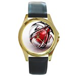 Metal Becomes Her Goth Ball Fantasy Round Gold Metal Watch