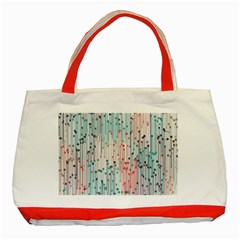 Vertical Behance Line Polka Dot Grey Pink Classic Tote Bag (red)