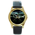 City of the Apocalypse Goth Night Round Gold Metal Watch