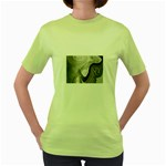 Gray Marble Fractal Fantasy Swirl Women s Green T-Shirt