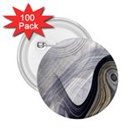 Gray Marble Fractal Fantasy Swirl 2.25  Button (100 pack)