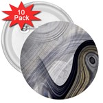 Gray Marble Fractal Fantasy Swirl 3  Button (10 pack)