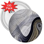 Gray Marble Fractal Fantasy Swirl 3  Button (100 pack)