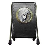 Gray Marble Fractal Fantasy Swirl Pen Holder Desk Clock