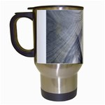 Gray Marble Fractal Fantasy Swirl Travel Mug (White)