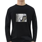 Gray Marble Fractal Fantasy Swirl Long Sleeve Dark T-Shirt