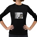 Gray Marble Fractal Fantasy Swirl Women s Long Sleeve Dark T-Shirt