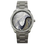 Gray Marble Fractal Fantasy Swirl Sport Metal Watch