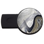 Gray Marble Fractal Fantasy Swirl USB Flash Drive Round (4 GB)