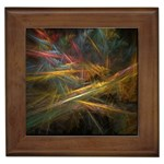 Pastel Spikes on Black Fractal Framed Tile