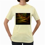 Pastel Spikes on Black Fractal Women s Yellow T-Shirt
