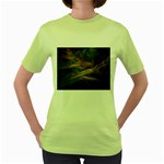 Pastel Spikes on Black Fractal Women s Green T-Shirt