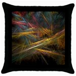 Pastel Spikes on Black Fractal Throw Pillow Case (Black)