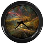 Pastel Spikes on Black Fractal Wall Clock (Black)
