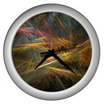 Pastel Spikes on Black Fractal Wall Clock (Silver)