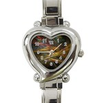 Pastel Spikes on Black Fractal Heart Italian Charm Watch