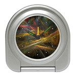 Pastel Spikes on Black Fractal Travel Alarm Clock
