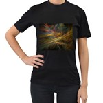 Pastel Spikes on Black Fractal Women s Black T-Shirt