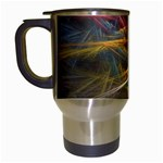 Pastel Spikes on Black Fractal Travel Mug (White)