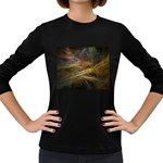 Pastel Spikes on Black Fractal Women s Long Sleeve Dark T-Shirt