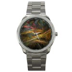 Pastel Spikes on Black Fractal Sport Metal Watch