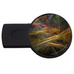 Pastel Spikes on Black Fractal USB Flash Drive Round (4 GB)