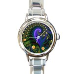 Blue Green Snails Under Sea Fractal Round Italian Charm Watch