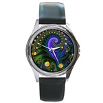 Blue Green Snails Under Sea Fractal Round Metal Watch