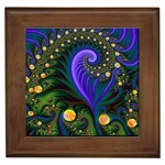 Blue Green Snails Under Sea Fractal Framed Tile