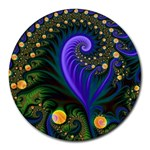 Blue Green Snails Under Sea Fractal Round Mousepad