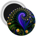 Blue Green Snails Under Sea Fractal 3  Magnet