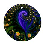 Blue Green Snails Under Sea Fractal Ornament (Round)