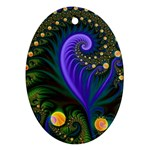 Blue Green Snails Under Sea Fractal Ornament (Oval)