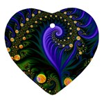 Blue Green Snails Under Sea Fractal Ornament (Heart)