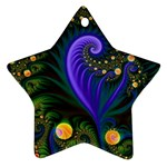 Blue Green Snails Under Sea Fractal Ornament (Star)