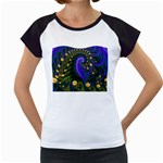 Blue Green Snails Under Sea Fractal Women s Cap Sleeve T