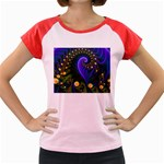 Blue Green Snails Under Sea Fractal Women s Cap Sleeve T-Shirt