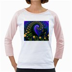 Blue Green Snails Under Sea Fractal Girly Raglan